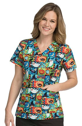 Med Couture Women's Anna V-Neck Halloween Print Scrub Top