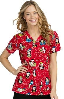 Med Couture Women's Anna Penguin Christmas Print Scrub Top