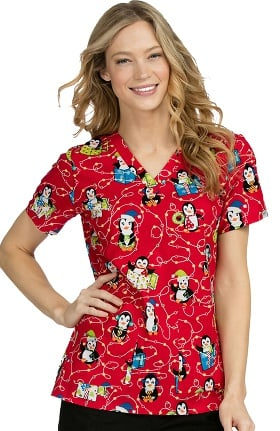 Clearance Med Couture Women's Anna Penguin Christmas Print Scrub Top