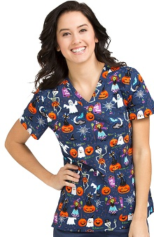 Clearance Peaches Uniforms Women's Anna Boo Bash Print Scrub Top