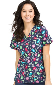 Clearance Peaches Uniforms Women's Anna Mittens Print Scrub Top