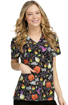 Med Couture Women's Anna Halloween Print Scrub Top