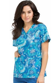 Clearance Peaches Uniforms Women's Anna Snowflake Print Scrub Top