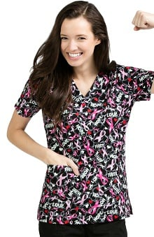 Med Couture Women's Anna Breast Cancer Awareness Print Scrub Top