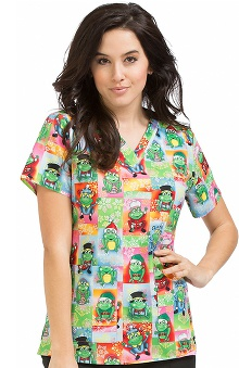 Clearance Peaches Uniforms Women's Anna Festive Frog Print Scrub Top