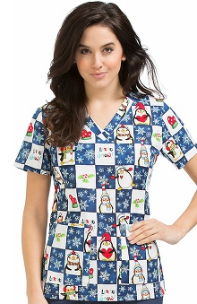 Clearance Peaches Uniforms Women's Anna Winter Print Scrub Top