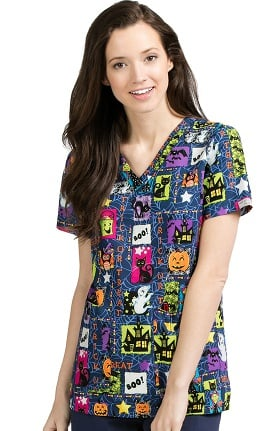 Clearance Med Couture Women's Anna Halloween Print Scrub Top