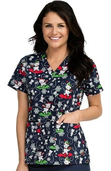 Med Couture Women's Anna Christmas Bears Print Scrub Top