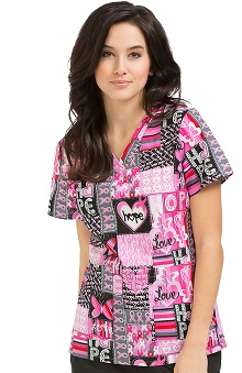 Clearance Peaches Uniforms Women's Anna Bca Hope Print Scrub Top