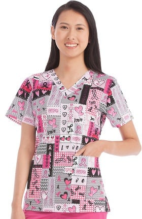 Med Couture Women's Anna V-Neck BCA Print Scrub Top