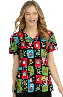 Med Couture Women's Anna Christmas Print Scrub Top