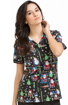 Clearance Peaches Uniforms Women's Anna Santa Print Scrub Top
