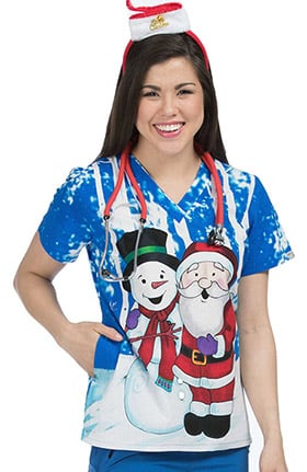Med Couture Women's Anna V-Neck Santa Placement Print Scrub Top
