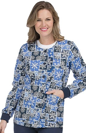 Clearance Med Couture Women's Snap Front Snowflake Print Scrub Jacket