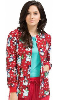 Clearance Peaches Uniforms Women's Round Neck Snowman Print Warm Up Scrub Jacket