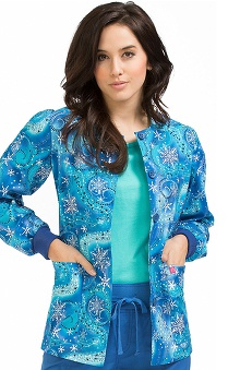 Clearance Peaches Uniforms Women's Round Neck Snowflake Print Warm Up Scrub Jacket