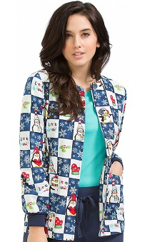 Clearance Peaches Uniforms Women's Round Neck Winter Print Warm Up Scrub Jacket
