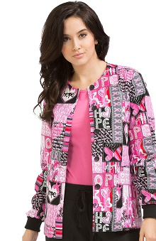 Clearance Peaches Uniforms Women's Round Neck Bca Hope Print Warm Up Scrub Jacket