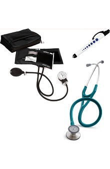 3M™ Littmann® Cardiology III™ Stethoscope With Prestige Medical Basics Aneroid Sphygmomanometer & Matching Case & Quick Lites Penlight Kit