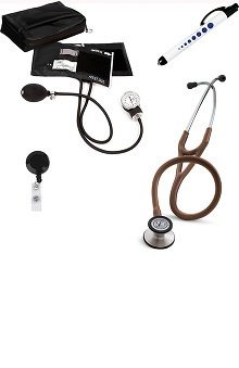 3M™ Littmann® Cardiology III™ Stethoscope With Prestige Medical Basics Aneroid Sphygmomanometer & Matching Case, Quick Lites Penlight & Retracteze ID Clip Kit
