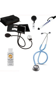 3M™ Littmann® Classic II S.E., Prestige Medical Adult Aneroid Sphygmomanometer & Matching Case, Quick Lites Penlight, Retracteze ID Badge Reel & Praveni Cleaning Kit