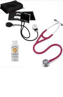 3M™ Littmann® Cardiology IV™ Stethoscope With Prestige Medical Aneroid Sphygmomanometer & Matching Case & Praveni Cleaning Kit