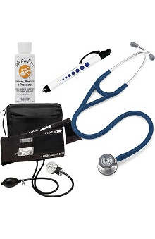 3M™ Littmann® Cardiology IV™ Stethoscope With Prestige Medical Aneroid Sphygmomanometer & Matching Case, Pupil Gauge Quick Lites Penlight & Praveni Cleaning Kit