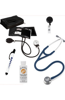 3M™ Littmann® Cardiology IV™ Stethoscope With Prestige Medical Aneroid Sphygmomanometer & Matching Case, Pupil Gauge Quick Lites Penlight, Retracteze ID Badge Holder & Praveni Cleaning Kit