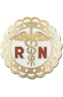 Prestige Medical RN - Registered Nurse (with Round Sculptured Edge) with Swivel Bar Style Pin