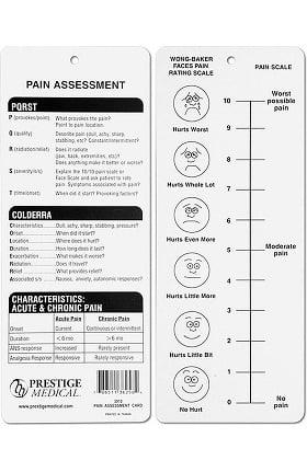 Prestige Medical Pain Assessment Card