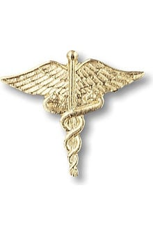 LGE: Prestige Medical Large Gold Caduceus Tac Pin
