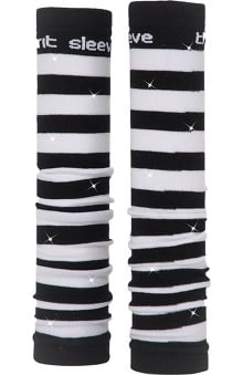 Med Sleeve Black and White Stripes with Bling