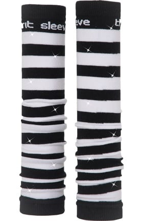 Med Sleeve Women's Black and White Stripes with Bling