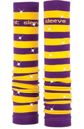 Med Sleeve Women's Purple and Gold Stripes with Bling