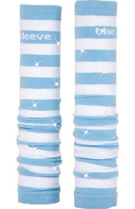 Med Sleeve Sky and White Stripes with Bling
