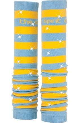 Med Sleeve Sky and Gold Stripes with Bling