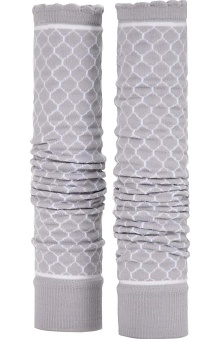 Med Sleeve Soft Grey Trellis with Ruffle