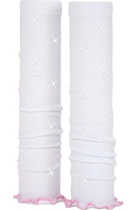 Med Sleeve Women's White with Pink Ruffle with Bling