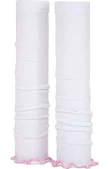 Med Sleeve White with Pink Ruffle
