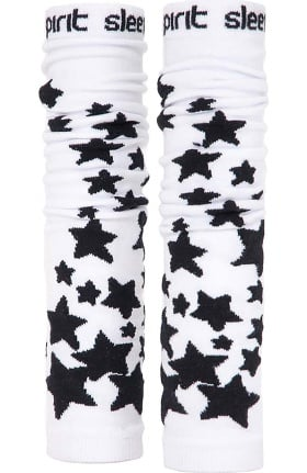 Med Sleeve Women's White with Black Stars