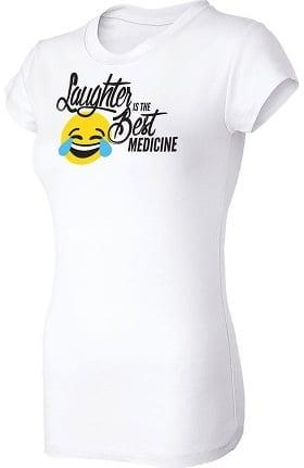 Think Medical Women's Laughter Emoji Print Underscrub T-Shirt