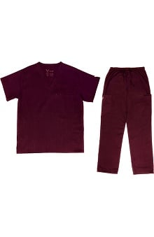 Vestex® Signature Stretch™ Unisex V-Neck Solid Scrub Top & Unisex Cargo Scrub Pant Set