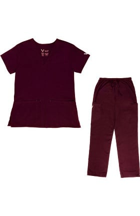 Vestex® Signature Stretch Women's V-Neck 2 Pocket Solid Scrub Top & Unisex Cargo Scrub Pant Set
