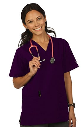 Clearance VESTEX® Basics Women's 2-Pocket V-Neck Solid Scrub Top