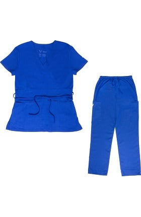 Vestex® Signature Stretch Women's Mock Wrap Solid Scrub Top & Unisex Cargo Scrub Pant Set