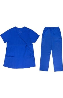 Vestex® Signature Stretch™ Women's Empire Mock Wrap Solid Scrub Top & Unisex Cargo Scrub Pant Set