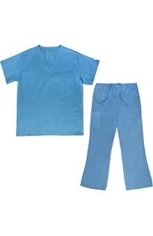 Vestex® Signature Stretch™ Unisex V-Neck Solid Scrub Top & Women's Flare Leg Cargo Scrub Pant Set