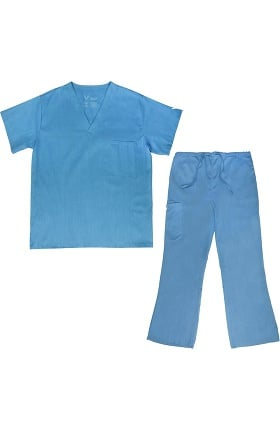 Vestex® Signature Stretch Unisex V-Neck Solid Scrub Top & Women's Flare Leg Cargo Scrub Pant Set