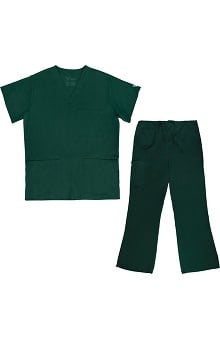 Vestex® Signature Stretch™ Unisex V-Neck 3 Pocket Solid Scrub Top & Women's Flare Leg Cargo Scrub Pant Set
