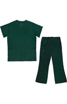 Vestex® Signature Stretch Unisex V-Neck 3 Pocket Solid Scrub Top & Women's Flare Leg Cargo Scrub Pant Set